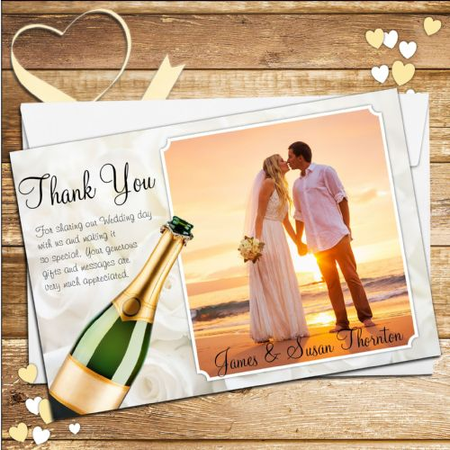 10 Personalised Champagne Wedding Thank you PHOTO cards N124